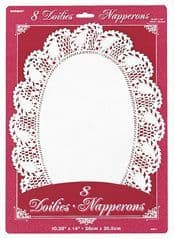 8 Oval White Paper Doilies