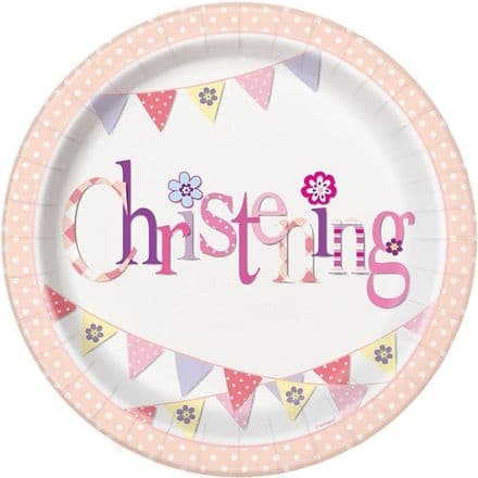 8 Pink Christening Paper Party Plates