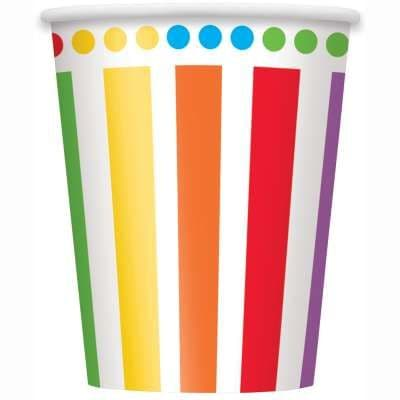 8 Rainbow Paper Party Cups