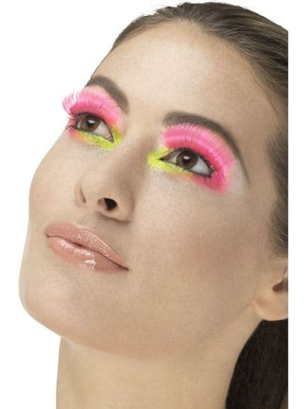 80's Neon Pink Party Eyelashes