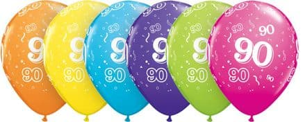 90th Assorted Colour Balloons 6 Pack