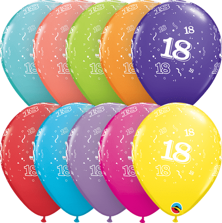 Age 18 Assorted Colour Balloons 6 Pack