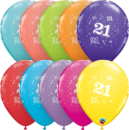 Age 21 Assorted Colour Balloons 6 Pack