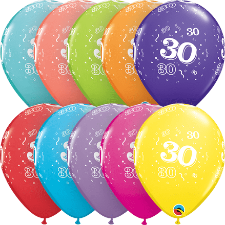 Age 30 Assorted Colour Balloons 6pk