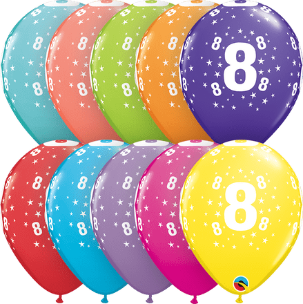 Age 8 Assorted Colour Balloons 6 Pack