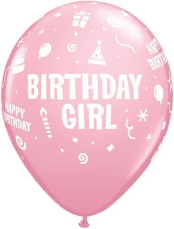 Birthday Girl Pink Balloons 6 Pack
