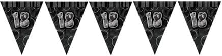 Black Glitz '18th' Birthday Flag Banner