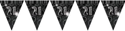 Black Glitz '21st' Birthday Flag Banner