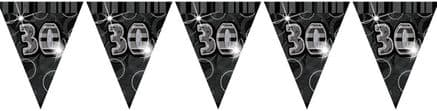 Black Glitz '30th' Birthday Flag Banner
