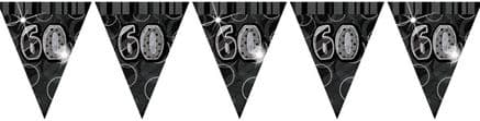 Black Glitz '60th' Birthday Flag Banner