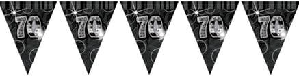 Black Glitz '70th' Birthday Flag Banner
