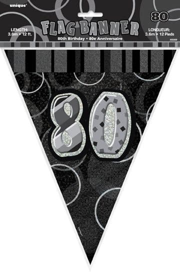 Black Glitz '80th' Birthday Flag Banner