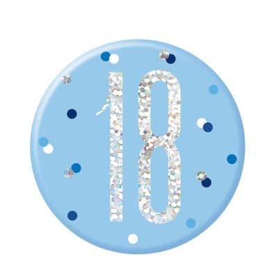 Blue Glitz '18' Birthday Badge