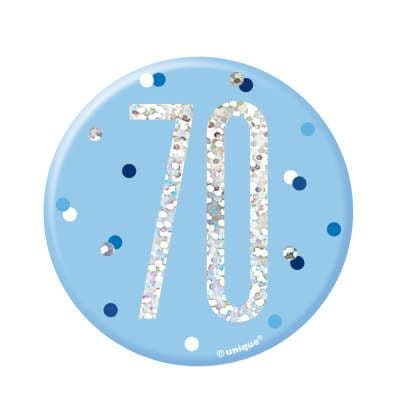 Blue Glitz '70' Birthday Badge