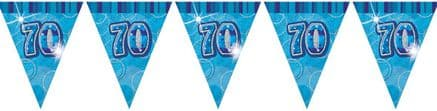 Blue Glitz '70th' Birthday Flag Banner