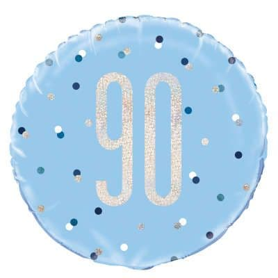 Blue Glitz  '90th' Foil Balloon