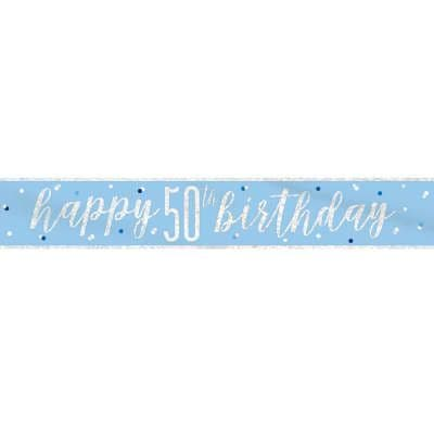 Blue Glitz 'Happy 50th Birthday' Banner