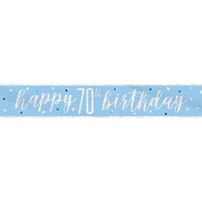 Blue Glitz 'Happy 70th Birthday' Banner
