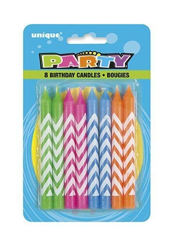 Chevron Cake Candles 8 Pack