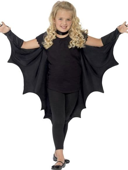 Childs Bat Wings Cape Black
