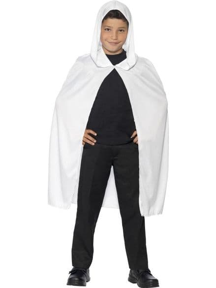 Childs Hooded Cape In White