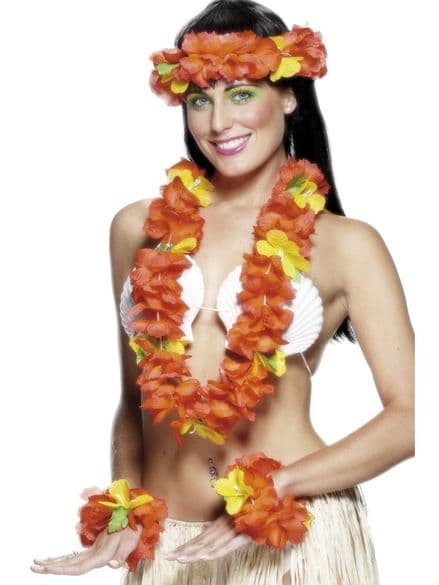 Deep Orange / Red Hawaiian Flower Lei Set