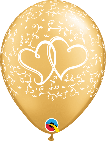 Entwined Hearts Gold Latex Balloons