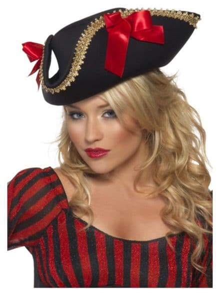 Fever Black Pirate Hat with Red Bows