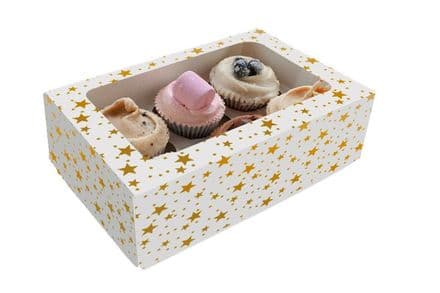 Gold Star Design Cupcake Box