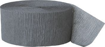 Grey Crepe Paper Streamer Roll 81ft