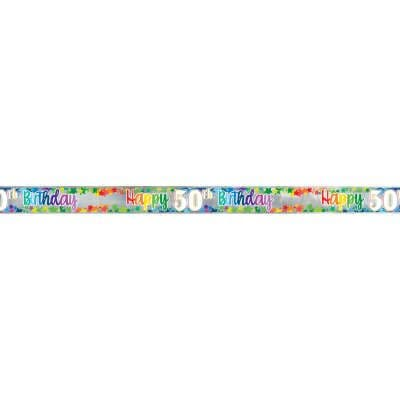 Happy 50th Birthday Multi colour Foil Banner