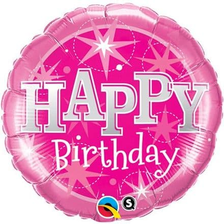 Happy Birthday Pink Sparkle Foil Helium Balloon