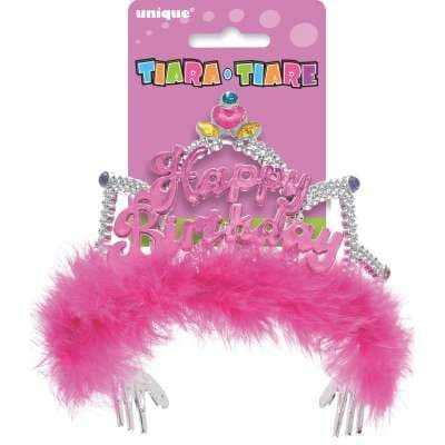 Happy Birthday Tiara with Pink Feathers