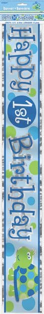 Happy First Birthday Party Foil Banner Blue Turtles