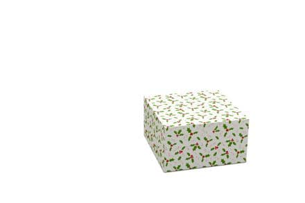 "Holly Design 10"" Xmas Cake Box"