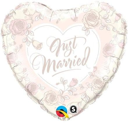 Just Married Roses Foil Helium Balloon