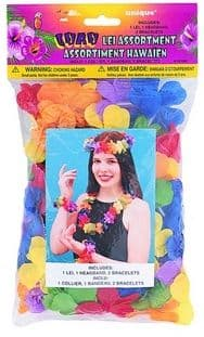 Luau Hawaiian Summer Lei Set