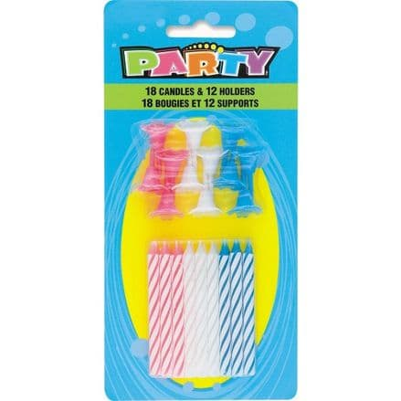 Multi-Coloured Birthday Cake Candles And Holders