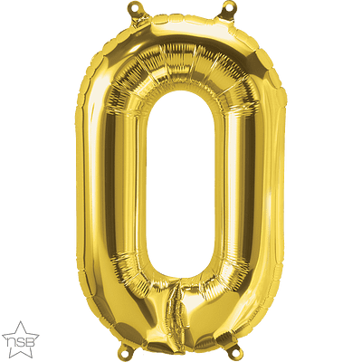 Number 0 Gold Mini Air-Fill Foil Balloon