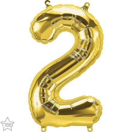 Number 2 Gold Mini Air-Fill Foil Balloon