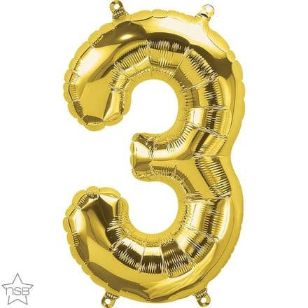 Number 3 Gold Mini Air-Fill Foil Balloon