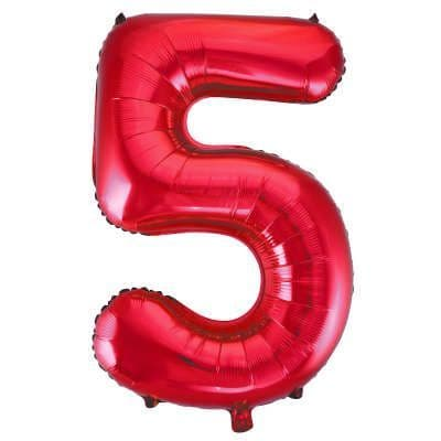 Number 5 Red Super Shape Number Foil Balloon