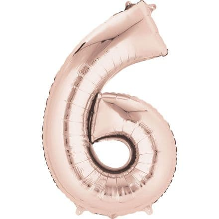 Number 6 Rose Gold Mini Air-Fill Foil Balloon