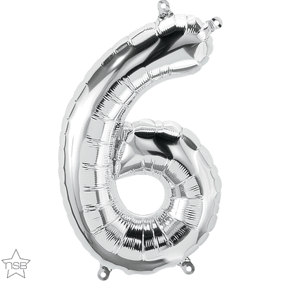 Number 6 Silver Mini Air-Fill Foil Balloon