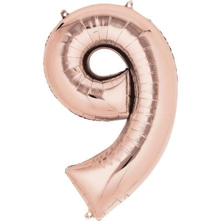 Number 9 Rose Gold Mini Air-Fill Foil Balloon