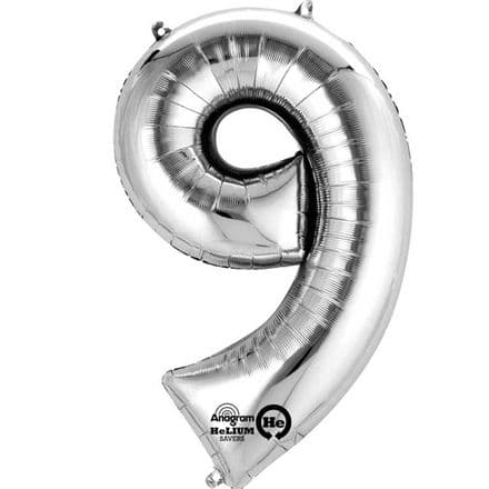 Number 9 Silver Mini Air-Fill Foil Balloon