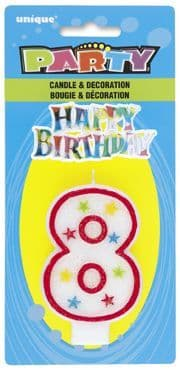 Number Eight 8 Birthday Cake Candle With Topper