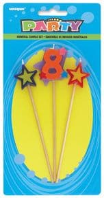 Number Eight 8 Number Stars Birthday Cake Candles
