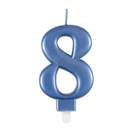 Number Eight Blue Metallic Birthday Cake Candle