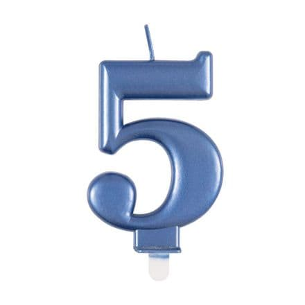Number Five Blue Metallic Birthday Cake Candle